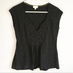 Anthropologie Deletta Black Short Sleeve